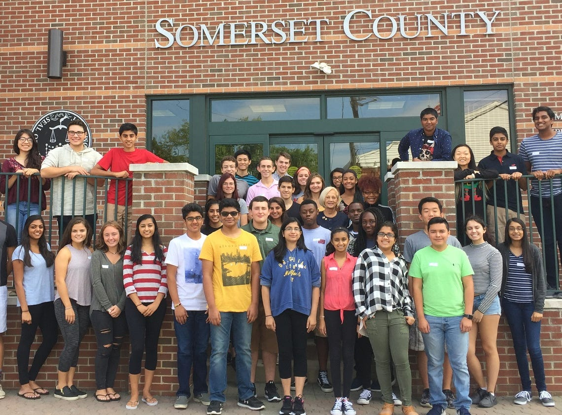 Members of the Youth Leadership Somerset Class of 2016/2017 with Freeholder Deputy Director Patricia L. Walsh on the steps of the Somerset County Human Services building in Somerville.