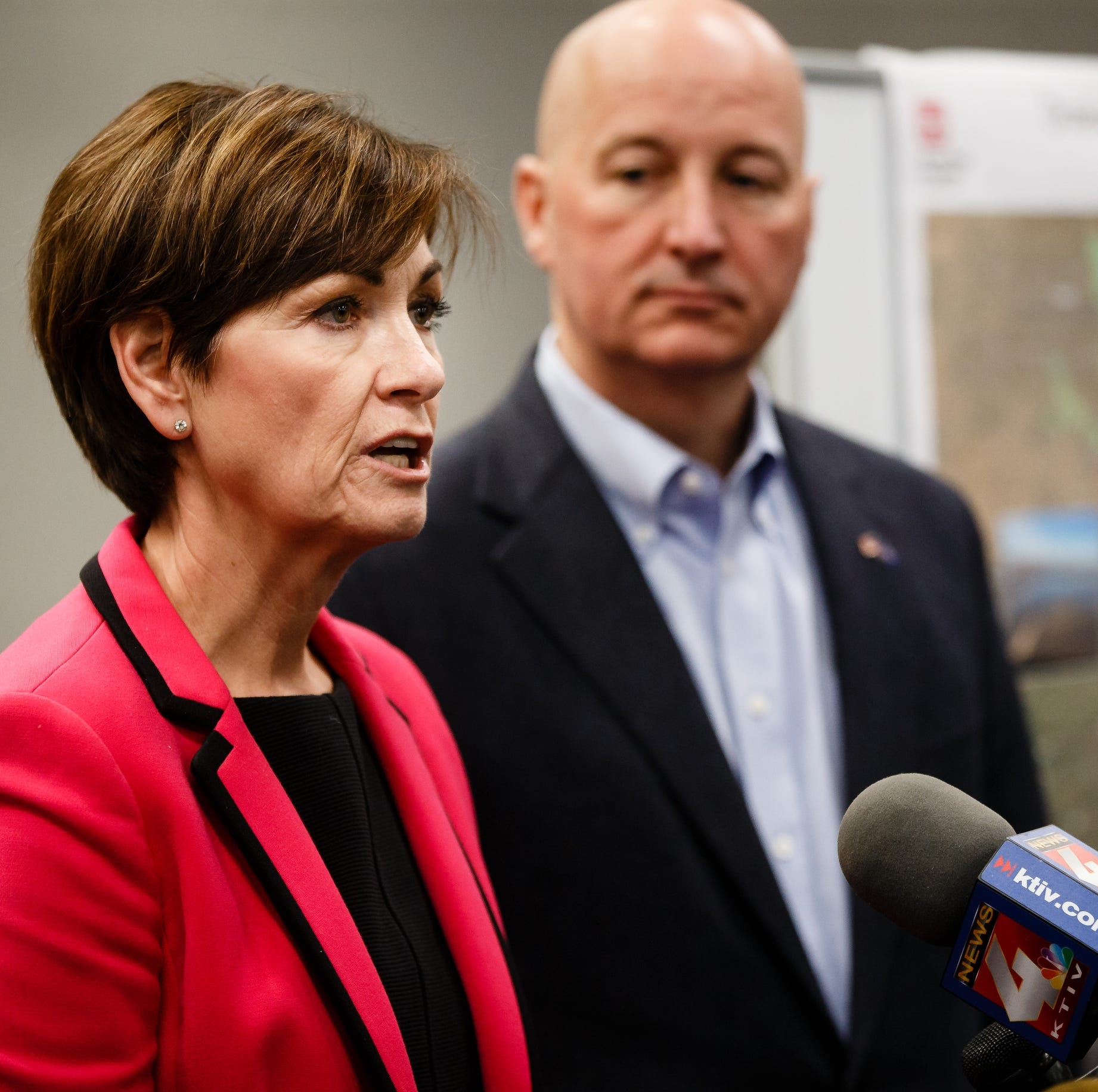 Iowa Governor Kim Reynolds and Nebraska Governor Pete Ricketts talk to the press after meeting with the U.S. Army Corps of Engineers and the Federal Emergency Management Agency to get an updated assessment of flood damage, a look ahead on the Missouri River outflow, and identify regional solutions for flooding and levee repairs on Wednesday, April 3, 2019, in Council Bluffs.