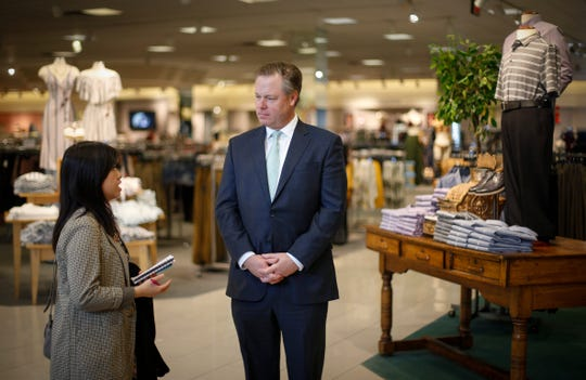 Jim Von Maur, CEO of Von Maur department stores, talks with Register reporter Linh Ta about keeping true to the company's core values as a leading reason the business experiences success while other department stores are closing during a visit to the store at Valley West Mall in West Des Moines on Friday, March 1, 2019.