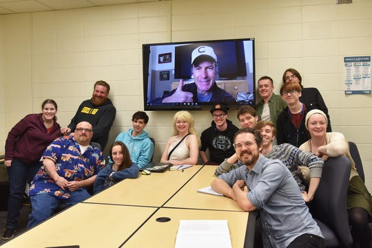 Bob Odenkirk spoke to a students via Skype during Professor Lee Keeler's playwriting class at DMACC on Tuesday, April 2.