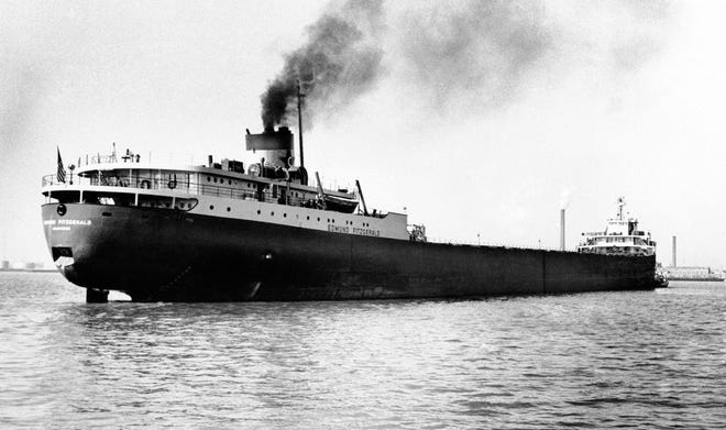 A 1959 file photo shows the Great Lakes freighter Edmund Fitzgerald, which disappeared Nov. 10, 1975, in a storm on Lake Superior. The Great Lakes have claimed some 6,000 ships since European explorers began navigating the waters in the 1600s, but few have captured the public's imagination as has the Edmund Fitzgerald.
