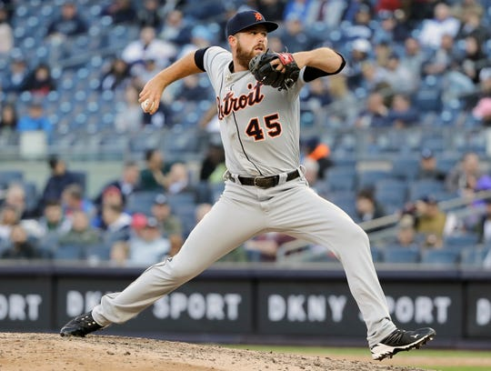 Detroit Tigers' Buck Farmer delivers a pitch during the seventh inning against the New York Yankees, Wednesday, April 3, 2019, in New York.