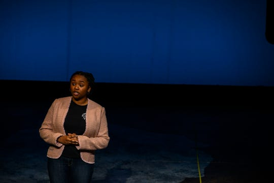 "Kendall Young  performs during a rehearsal for the monologue play  ""Flint"" at the Arthur Miller Theatre of the  University of Michigan's School of Music, Theater and Dance."