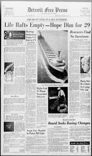 Stories about the Great Lakes freighter Edmund Fitzgerald were on the front page of Detroit Free Press' Nov. 12, 1975 edition. The ship disappeared on Nov. 10 on Lake Superior and was later found hundreds of feet underwater. There were no survivors reported.
