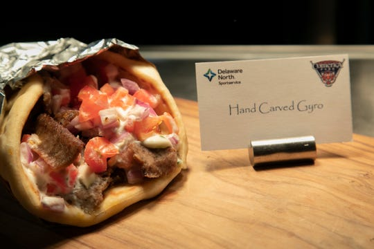 The Hand-Carved Gyro includes tzatziki sauce.