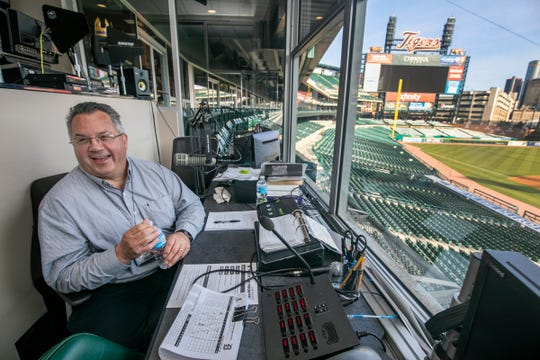 Jay Allen, the new Detroit Tigers PA announcer, goes through rehearsal before Opening Day Monday, April 1, 2019 from an operations booth in the press box at Comerica Park.
