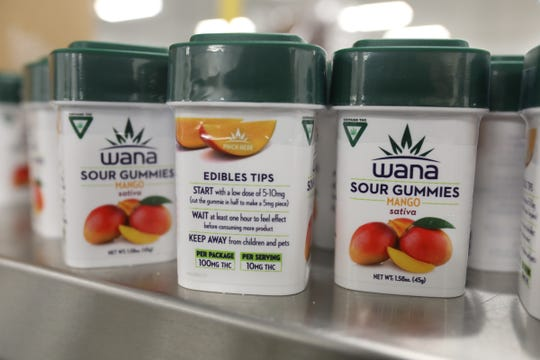 Wana mango sour gummies packaged up in their plastic containers waiting to be boxed up for shipment from High Life Farms in Chesaning, Michigan on Friday, March 29, 2019.High Life Farms partnered with Wana Brands, making their pot-infused gummies that had $18 million in sales in 2018 and has become on of the biggest edible companies in the nation.