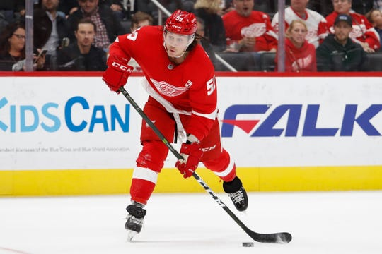 Detroit Red Wings left wing Tyler Bertuzzi (59) takes a shot during the second period against the Pittsburgh Penguins at Little Caesars Arena, on April 2, 2019, in Detroit.