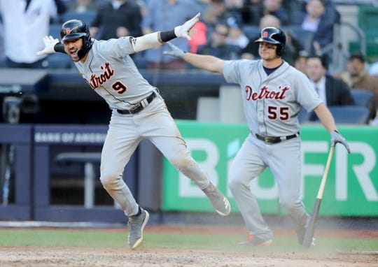 Detroit Tigers' Nicholas Castellanos reacts after he is called safe in the fourth inning against the New York Yankees at Yankee Stadium on April 3, 2019 in New York.