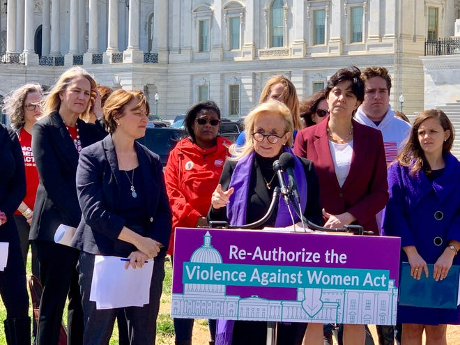 U.S. Rep. Debbie Dingell, D-Dearborn, speaks about her efforts with Sen. Amy Klobuchar, D-Minnesota, to close the 'boyfriend' loophole at the U.S. Capitol on April 3, 2019.
