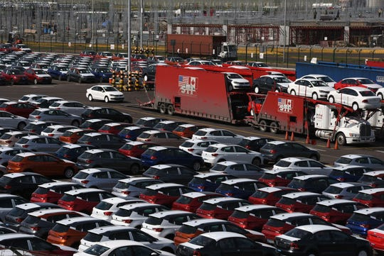 Cars await shipment at the Port of Veracruz in Mexico. President Donald Trump's threat to close the U.S,-Mexico border threatens to idle production across the North American auto industry within days.