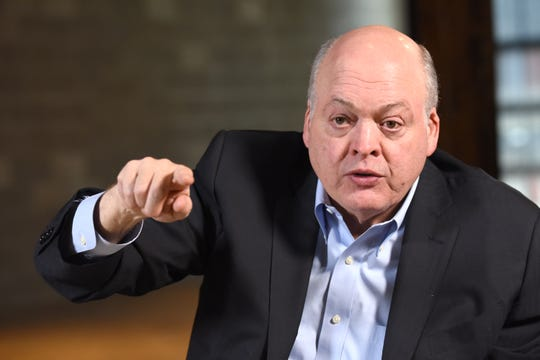 Ford CEO Jim Hackett speaks about his time at the company, how he feels his business plan is shaking out, and what he expects over the next year during an interview at Ford's The Factory at Corktown.