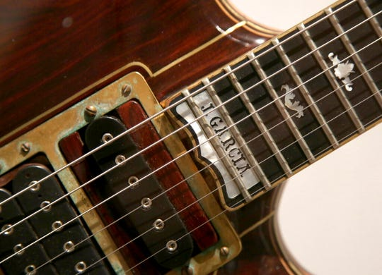 A custom guitar played by Jerry Garcia of The Grateful Dead is displayed.