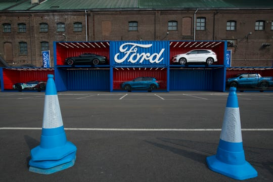 Ford cars as displayed for a presentation at SugarCity, an old sugar factory in Halfweg, near Amsterdam, Netherlands, Tuesday, April 2, 2019.
