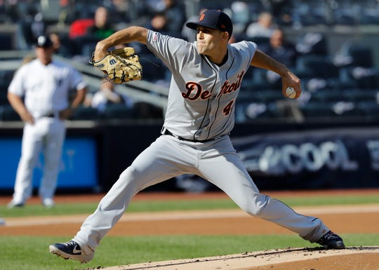 The Detroit Tigers' Matthew Boyd delivers during the first inning.