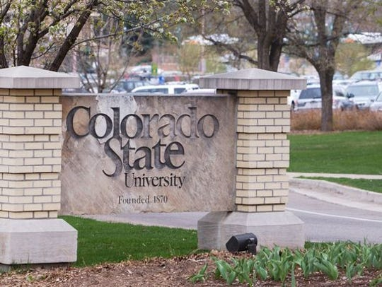 The Colorado State University sign on the north side of CSU's campus.