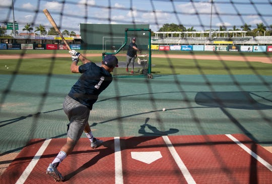 Royce Lewis hits a pitch from Toby Gardenhire at practice for the Fort Myers Miracle on Tuesday, April 2, 2019.
