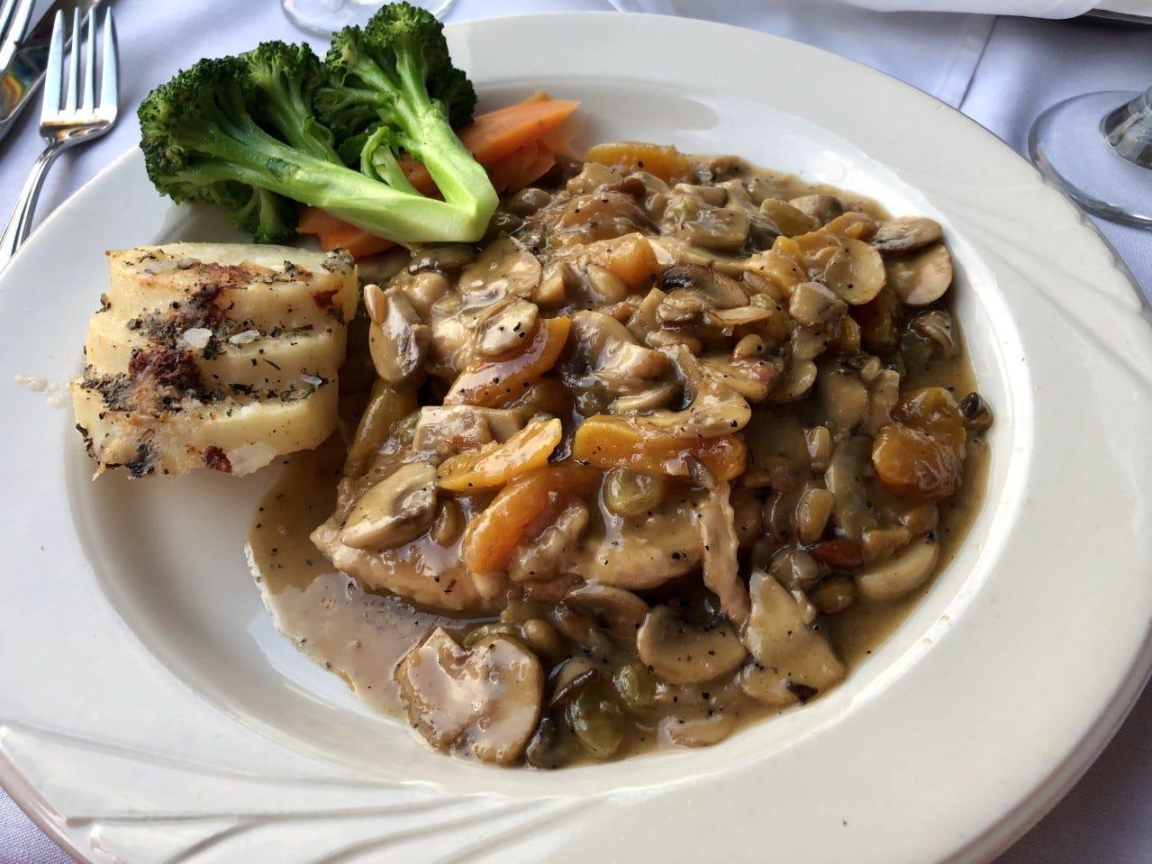 Pollo La Fontanella features porcini mushrooms, apricots, rasins and pine nuts in a brandy demi-glace.