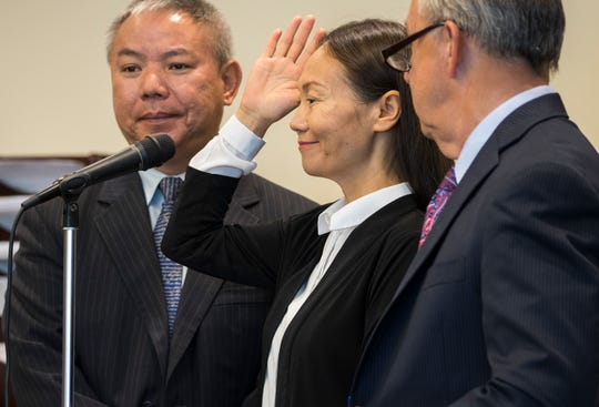 Xuan Lang is sworn in during her trial in front of Lee County circuit judge J. Frank Porter Wednesday morning, April 3, 2019. Lang plead guilty to money laundering stemming from the Florida Department of Law Enforcement's Operation Spa.
