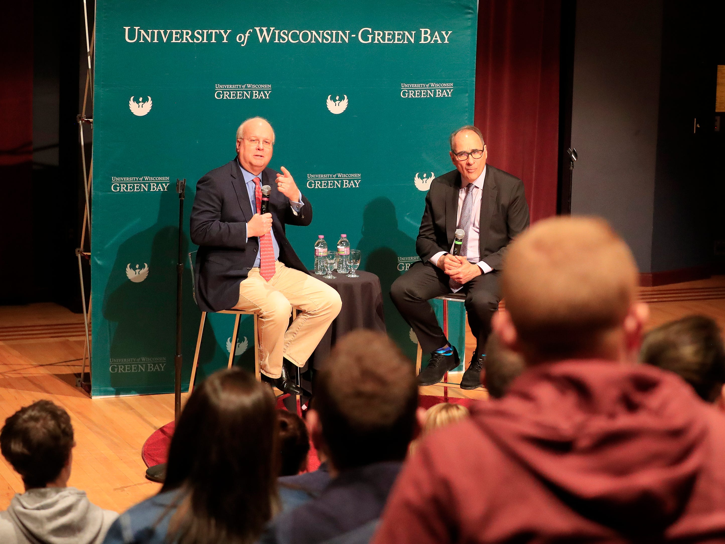 Political consultants Karl Rove (left) and David Axelrod take questions from students at UW-Green Bay on Wednesday, April 3, 2019 in Green Bay, Wis.