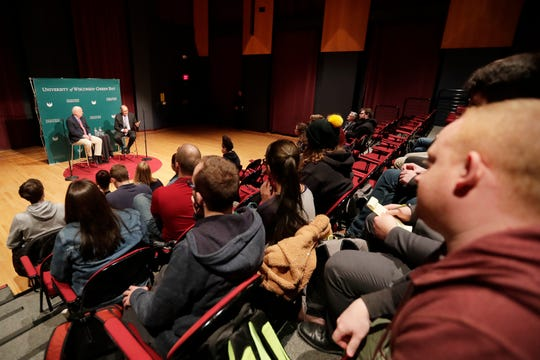 Political consultants Karl Rove and David Axelrod participate in a Q&A session with students at UW-Green Bay on Wednesday, April 3, 2019 in Green Bay, Wis.