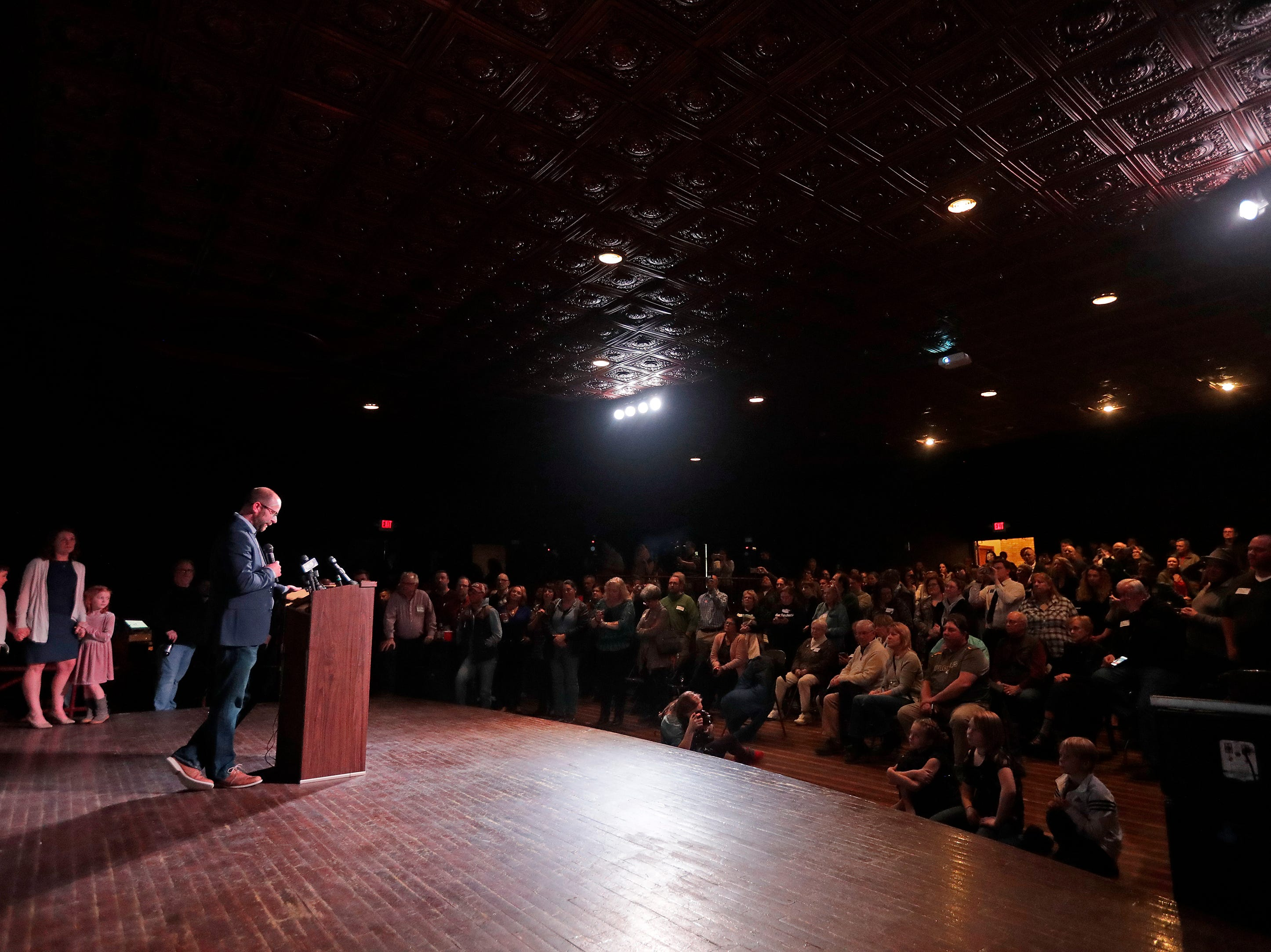 Mayor-elect Eric Genrich speaks to his supporters at the Tarlton Theater on Tuesday, April 2, 2019 in Green Bay, Wis.