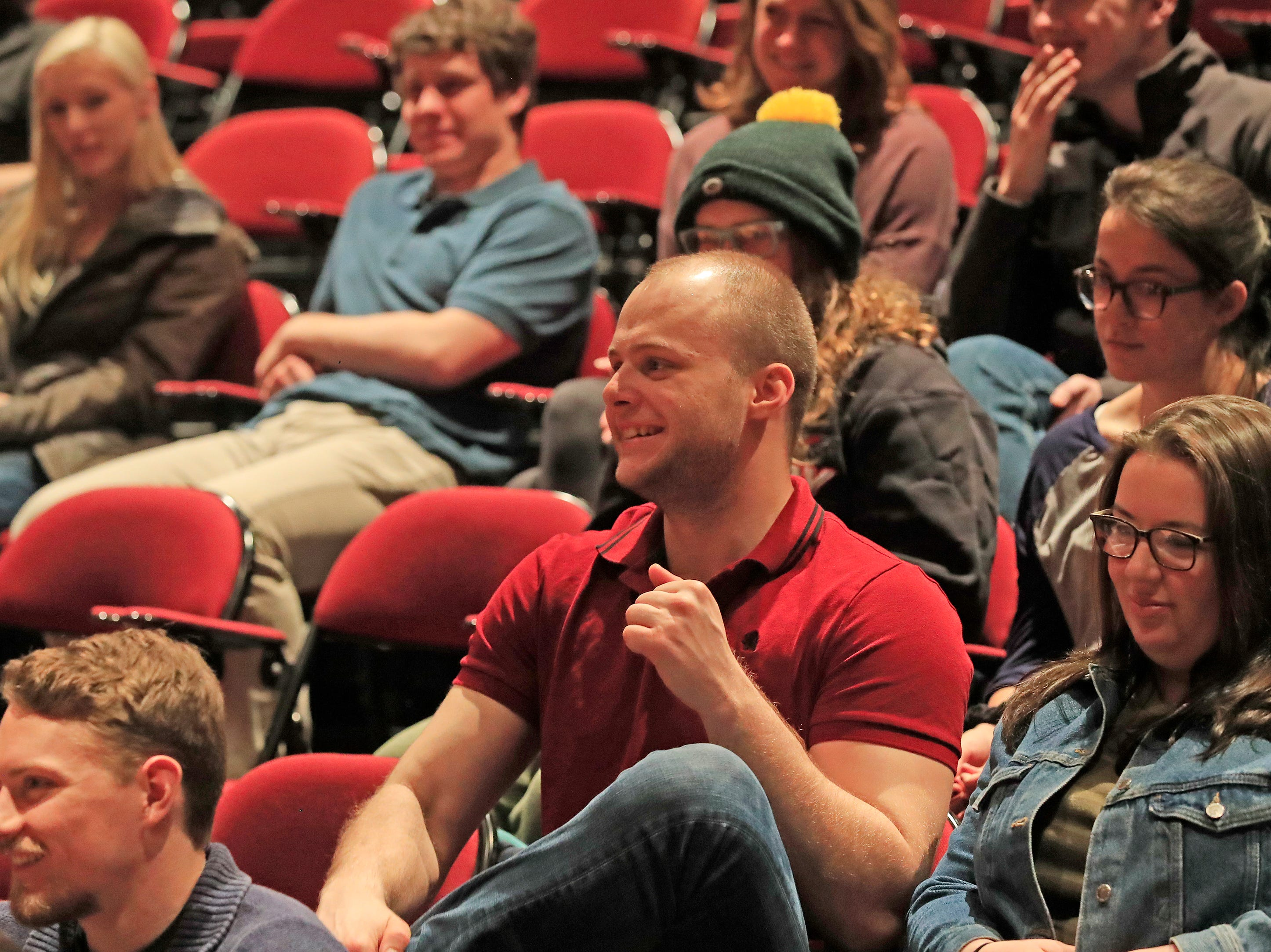 Students listen to discussion between national political consultants Karl Rove and David Axelrod during a Q&A session event at UW-Green Bay on Wednesday, April 3, 2019 in Green Bay, Wis.