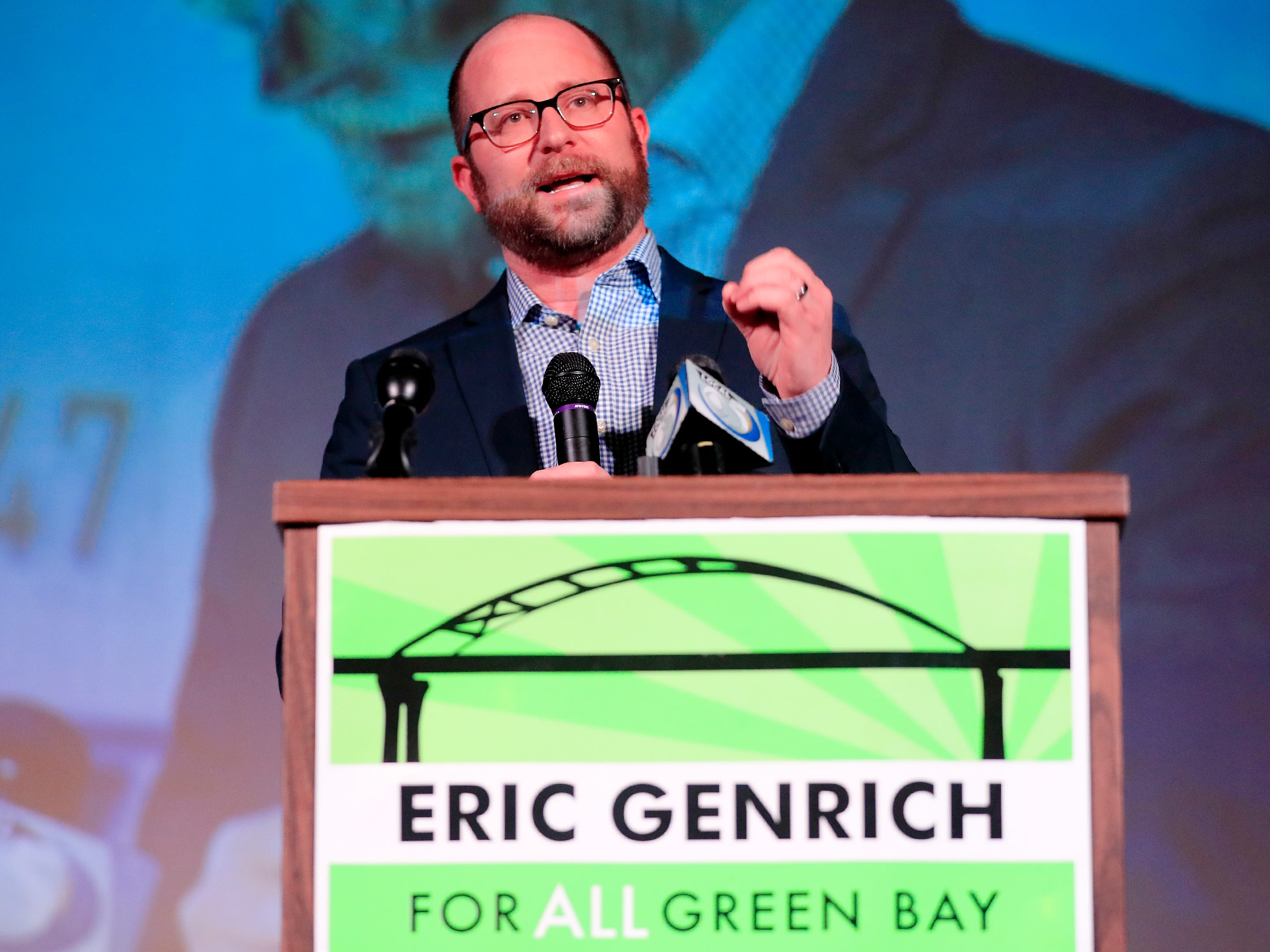 Green Bay Mayor-elect Eric Genrich speaks to his supporters at the Tarlton Theater on Tuesday, April 2, 2019 in Green Bay, Wis.