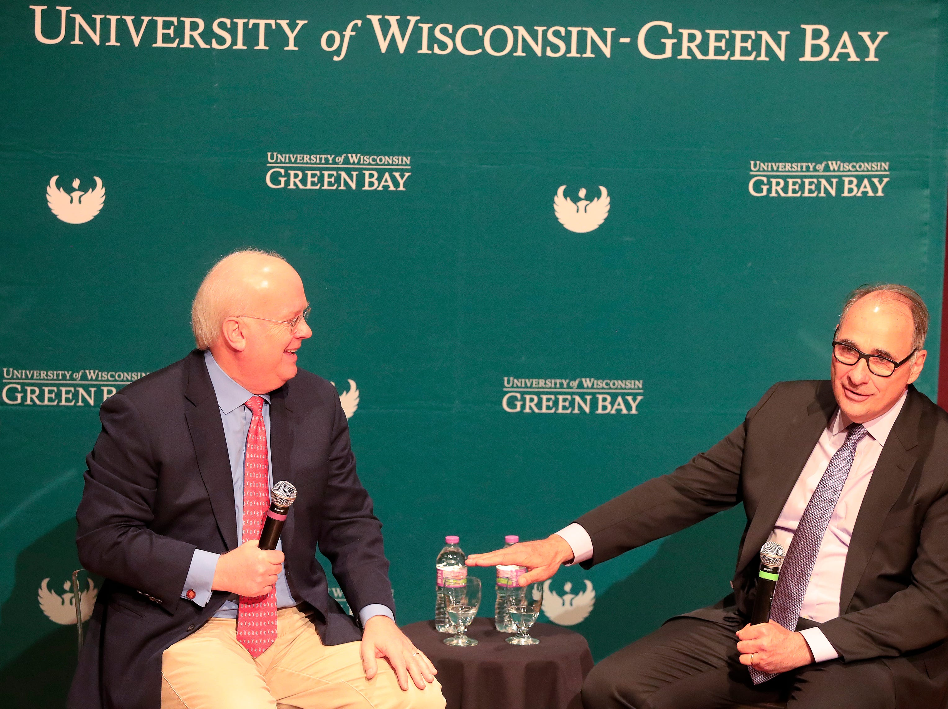 Political consultants Karl Rove (left) and David Axelrod participate in a Q&A session with students at UW-Green Bay on Wednesday, April 3, 2019 in Green Bay, Wis.