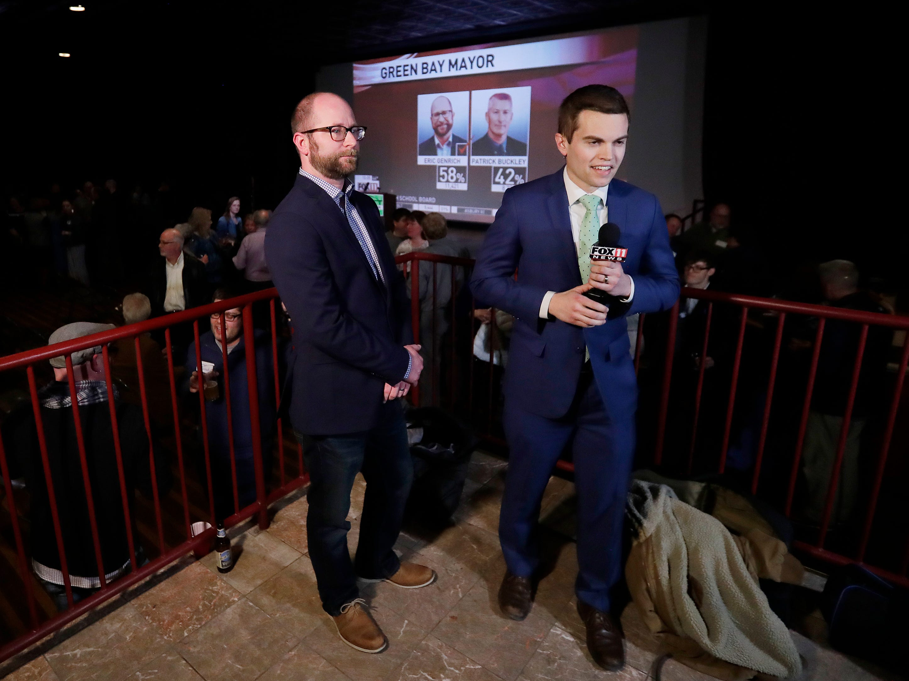 Mayor-elect Eric Genrich waits to speak to news reporters on election night at the Tarlton Theater on Tuesday, April 2, 2019 in Green Bay, Wis.