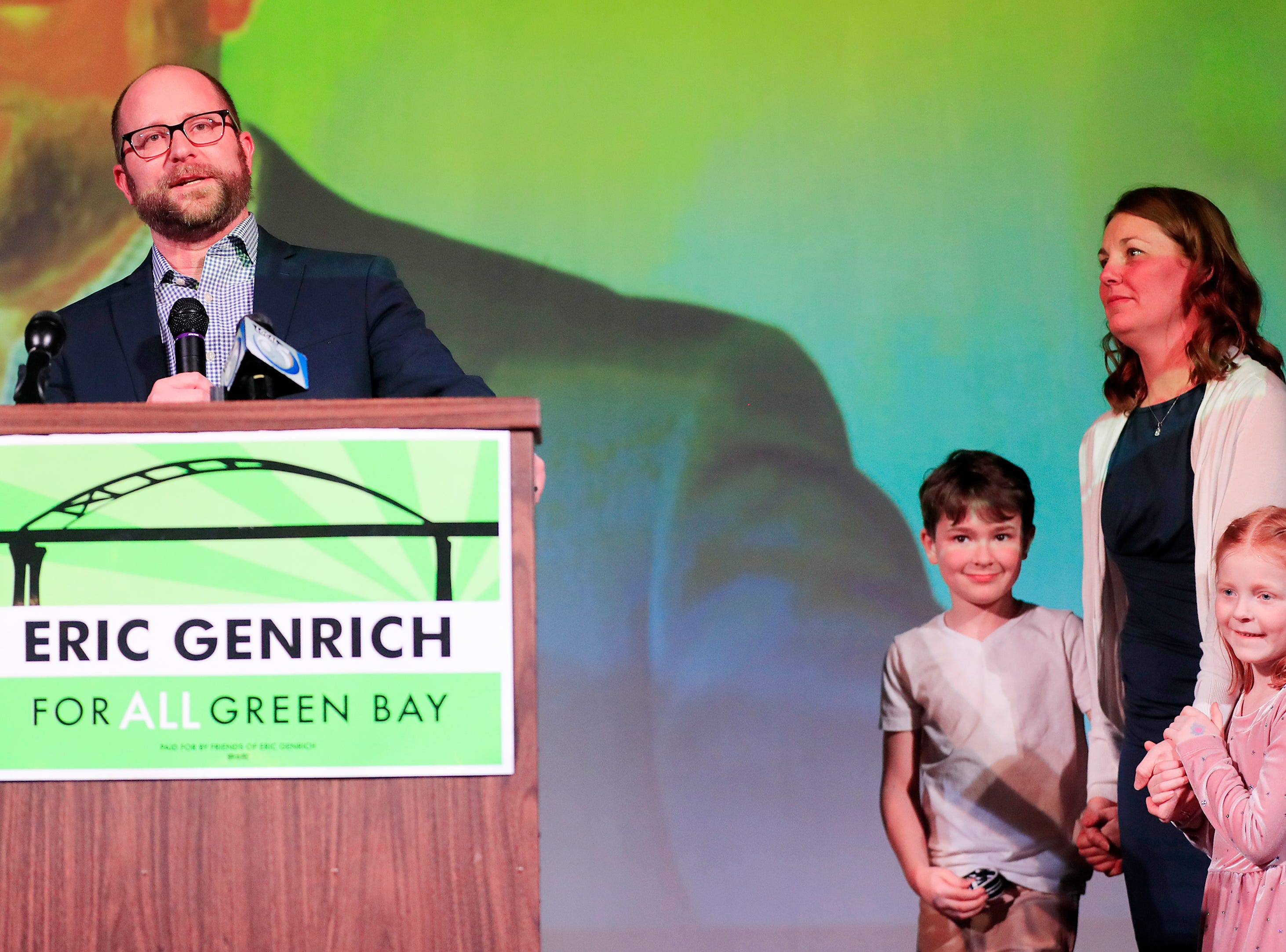 Green Bay Mayor-elect Eric Genrich speaks to his supporters at the Tarlton Theater after winning Tuesday's election.