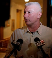 Green Bay mayoral candidate Patrick Buckley speaks to media at Mackinaw's Grill & Spirits after learning he had lost the election to Eric Genrich on Tuesday.
