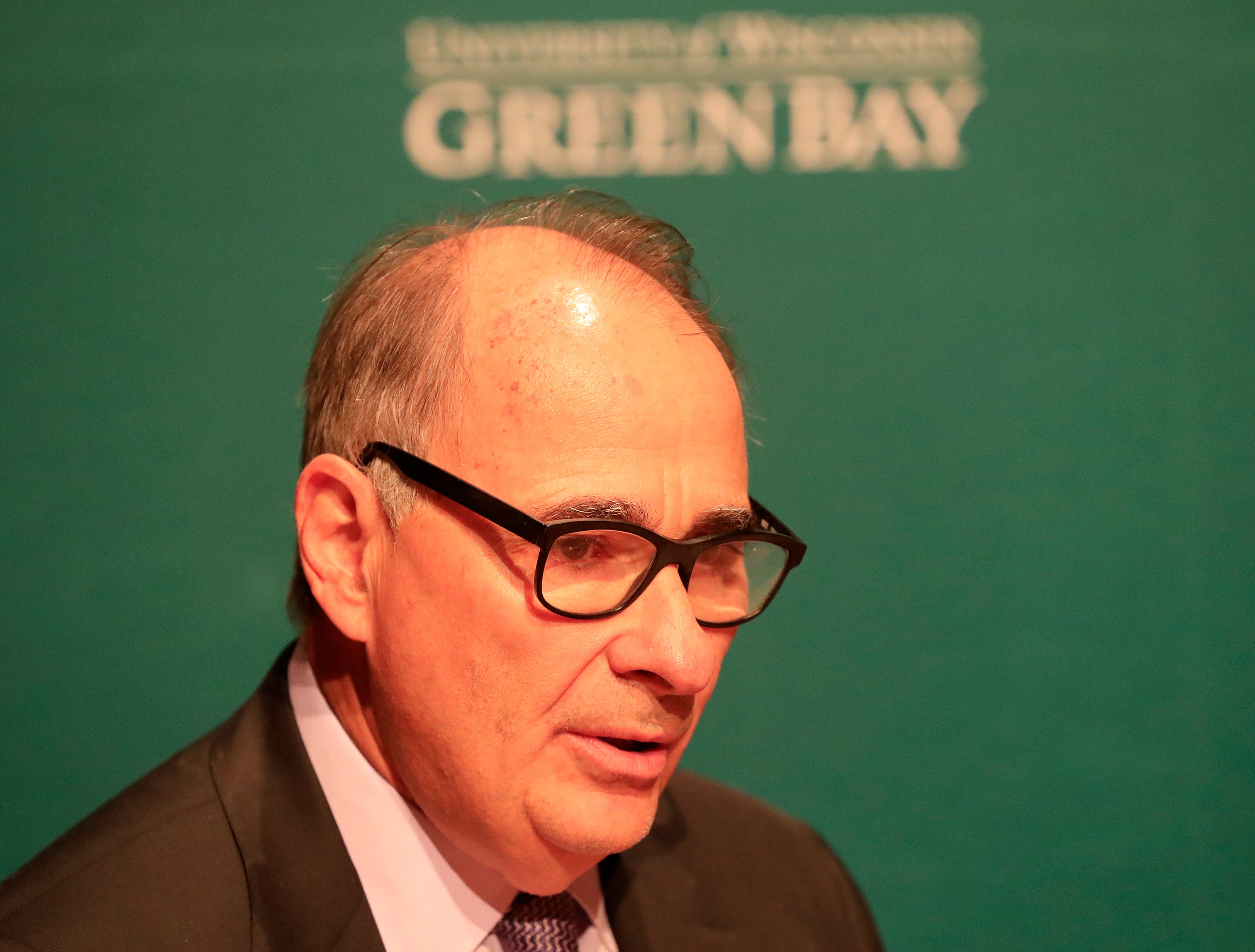 Political consultant David Axelrod speaks to members of the media before his point-counterpoint event with Karl Rove at UW-Green Bay on Wednesday, April 3, 2019 in Green Bay, Wis.