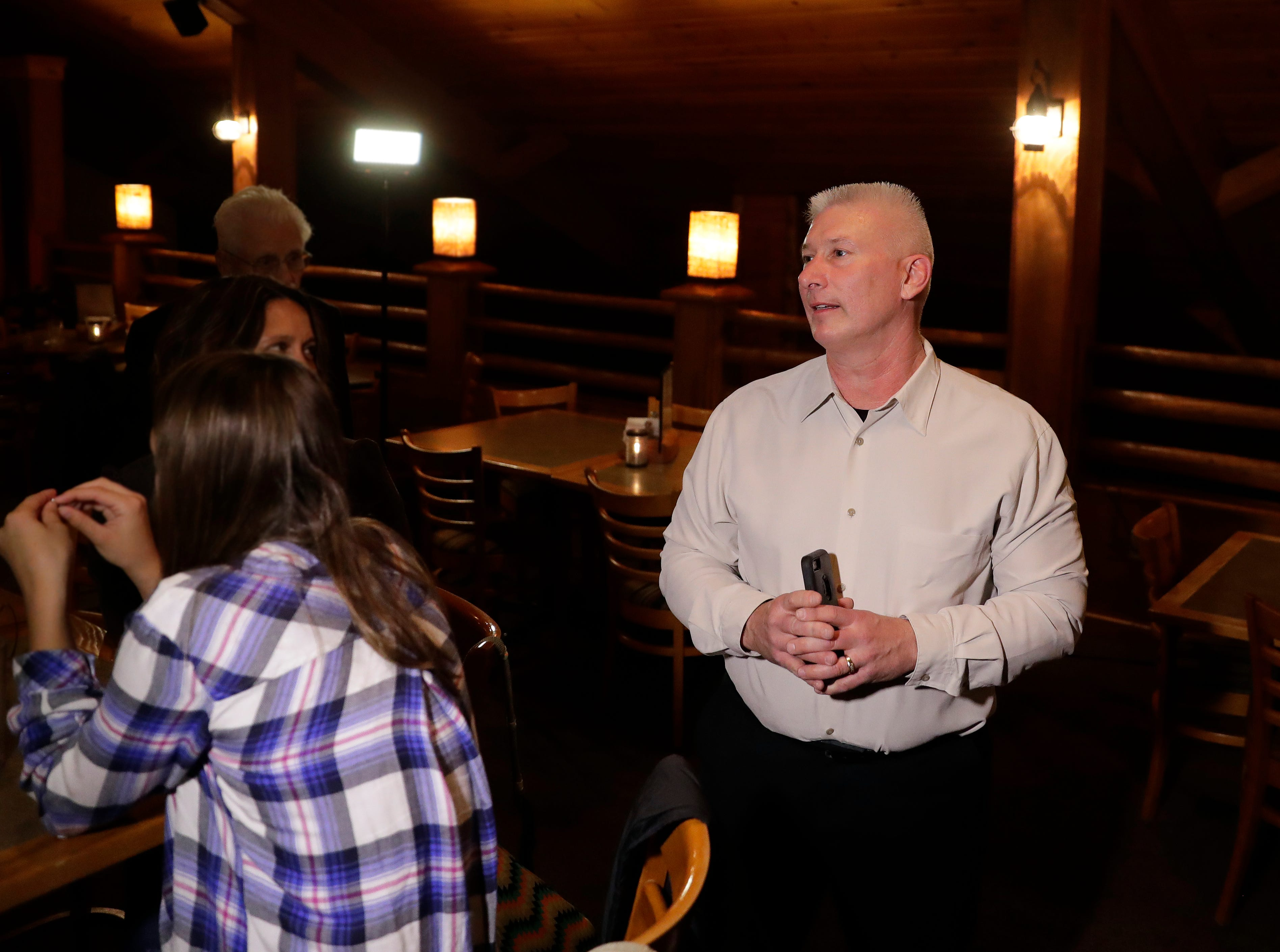 Green Bay mayoral candidate Patrick Buckley thanks supporters at Mackinaw's Grill & Spirits after learning he had lost the election to Eric Genrich on April 2, 2019.