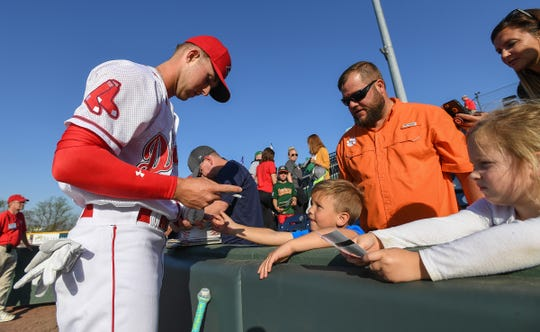 """Greenville drive outfielder Cole Brannen, shown on opening in 2018, says about opening 2019 with Boston Red Sox star Dustin Pedroia on the team: """"Hopefully to start and play on the same field on Thursday night with him, that's going to be a dream come true for real."""""""