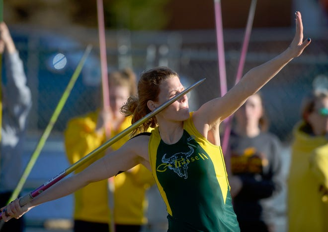 CMR's Kylee Gilcher throws the javelin during Tuesday's track meet against Helena Capital.