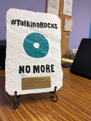 A #TalkingROCKS rock that will be displayed at different areas on Guam as part of a new awareness campaign about harms of family violence, dating violence and sexual assault.