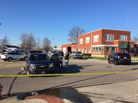 State Police are investigating an officer-involvedshooting near theBrownstown Police Department headquarters.