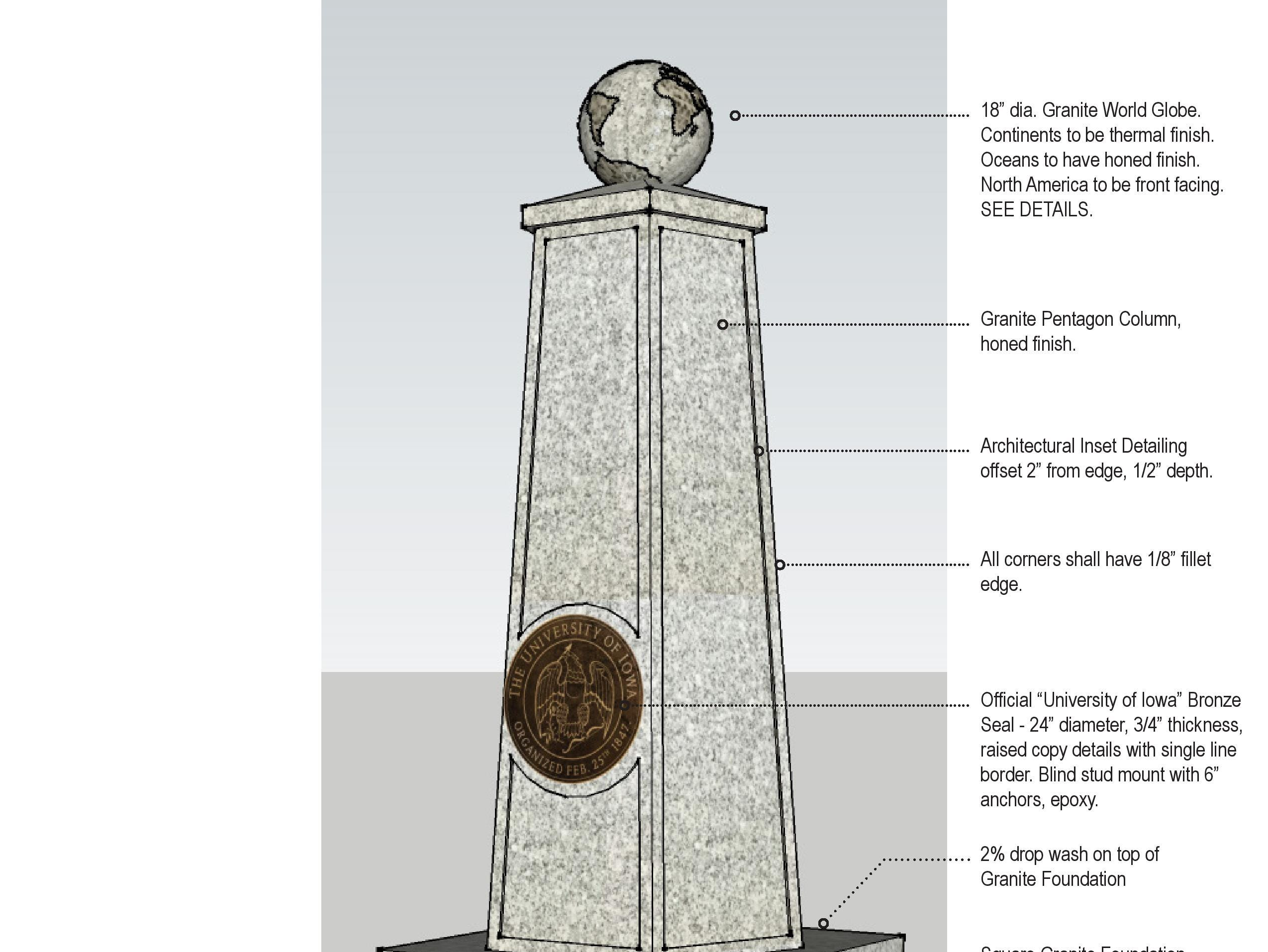 """The University of Iowa is requesting bids from contractors on what it would cost to construct a """"Gateway Monument."""" The public document shown here outlines the design details for the statue."""
