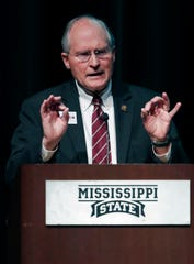 Former Supreme Court Chief Justice Bill Waller gestures during a debate between himself and Rep. Robert Foster, R-Hernando, unseen, during a Mississippi Republican gubernatorial debate in Starkville, Miss., Tuesday, April 2, 2019. Republican Lt. Gov. Tate Reeves, also a candidate, did not take part in the debate.