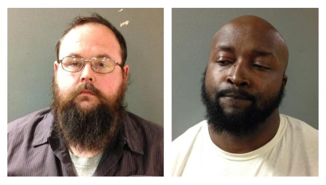 Joshua Cole, left, and Michael Gant, right, face counts of solicitation of a minor in Madison County after an undercover operation led to their arrests in October.
