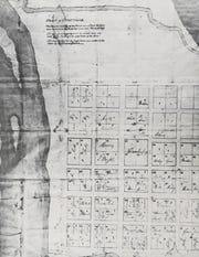"""First Creek is barely shown on the oldest surviving map of Knoxville from 1809. First Creek is shown at the bottom of the map. You can see James White's original sixteen blocks and sixty-four lots of Knoxville. The original 64 lots were numbered in sequence """"as the ox plows"""" or ox-turning."""