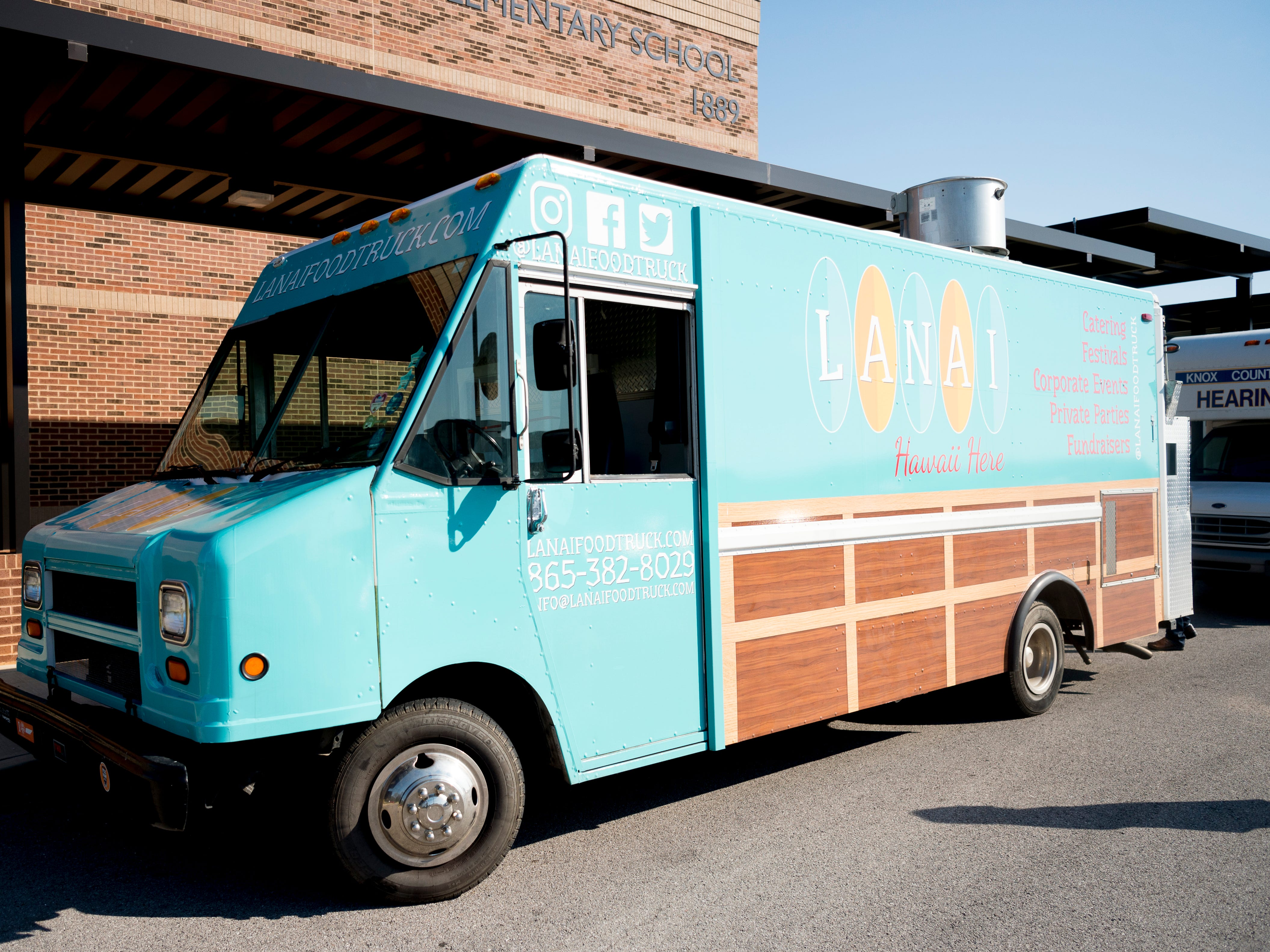 The Lanai Food Truck during a stop at Northshore Elementary School in West Knoxville, Tennessee on Wednesday, April 3, 2019. The food truck offers a fusion of both Hawaiian and Southern flavor.