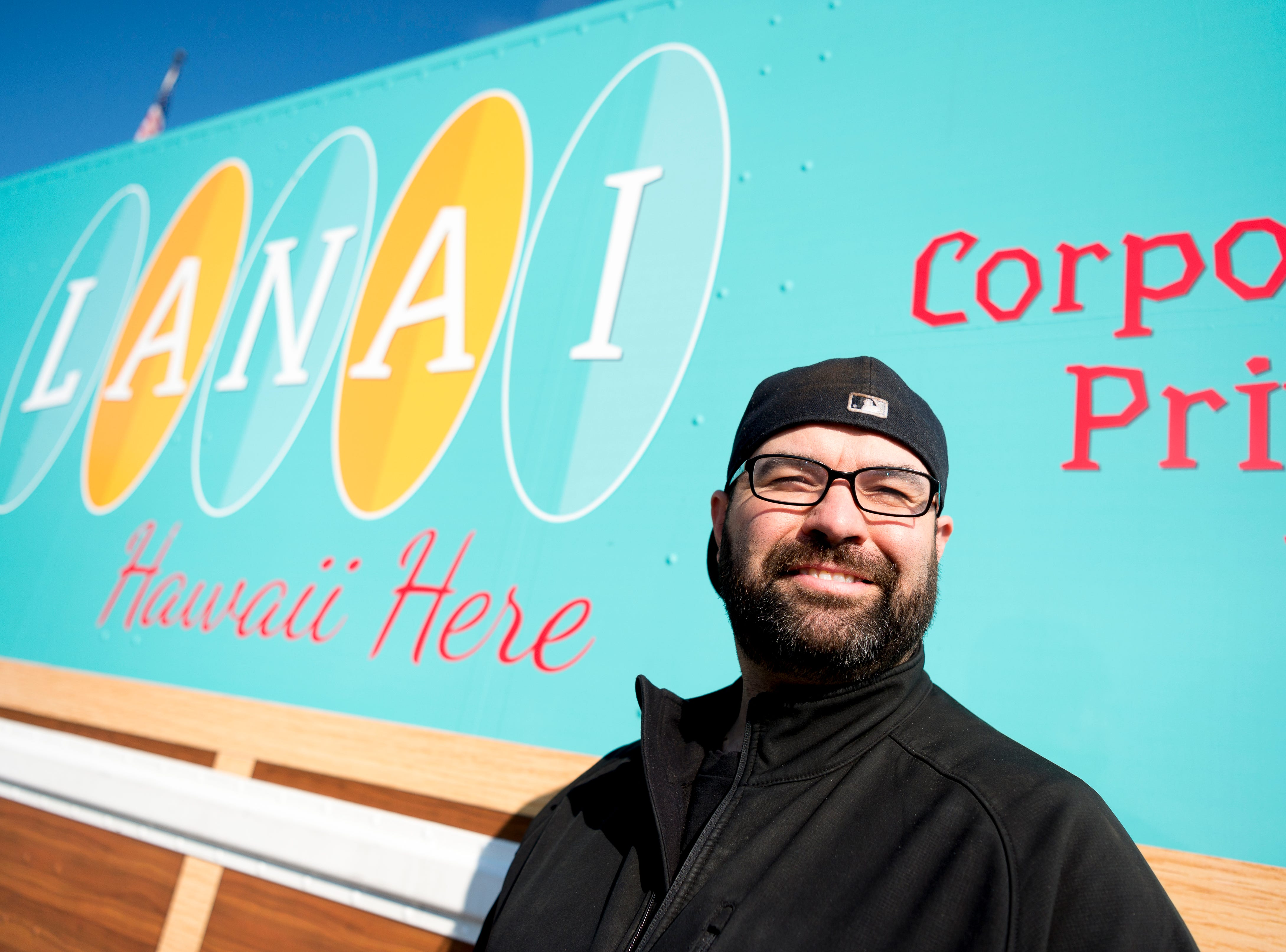 Owner Paul Moody outside of his Lanai Food Truck during a stop at Northshore Elementary School in West Knoxville, Tennessee on Wednesday, April 3, 2019. The food truck offers a fusion of both Hawaiian and Southern flavor.