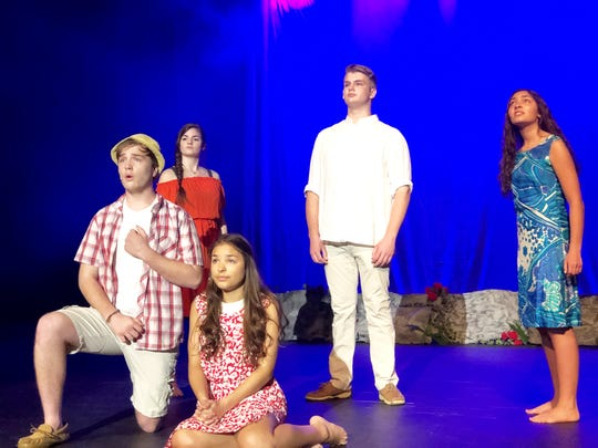 Foreground, left: Shane Bennett, Maddy Dishner. Background: Anna Jones (playing lead, Ti'Moune), Alex Gadd and Lexie Dishner. Central High School March 28, 2019.