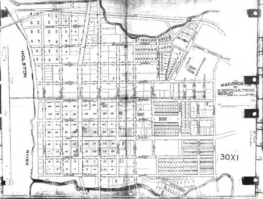 The Wadsworth Map of Knoxville was adopted by the Knoxville City Council in 1862. First Creek is shown at the bottom of the map.