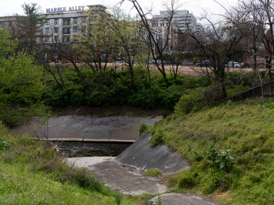 First Creek near Marble Alley Lofts and the downtown dog park.