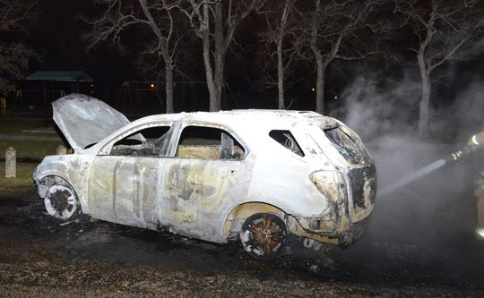 Lafayette fire investigators say this car was set on fire in Deballion Park in January, and later reported stolen.