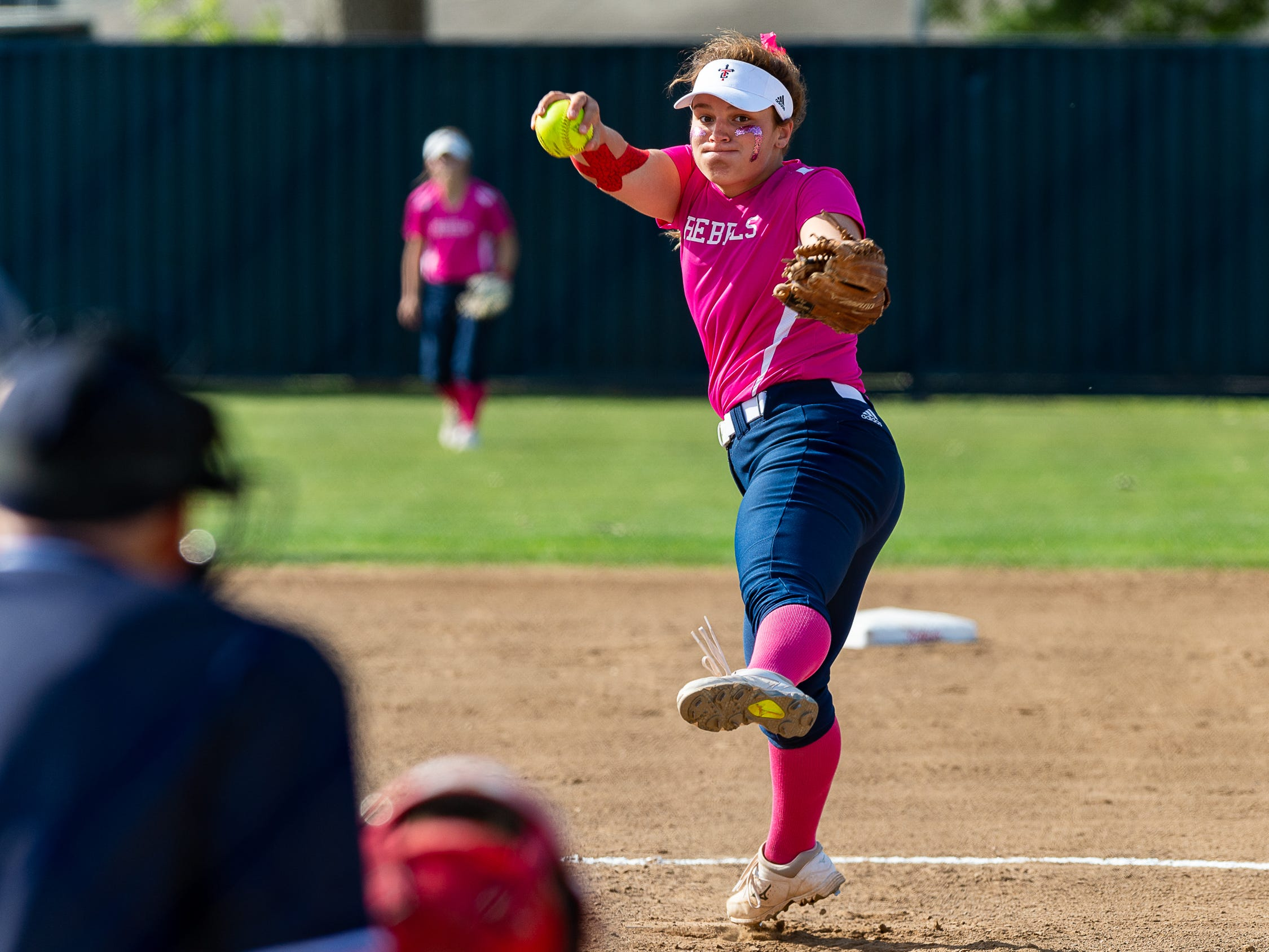 Rebels pitcher Mackenzie David in the circle as Teurlings Catholic host St Thomas More Softball. Tuesday, April 2, 2019.