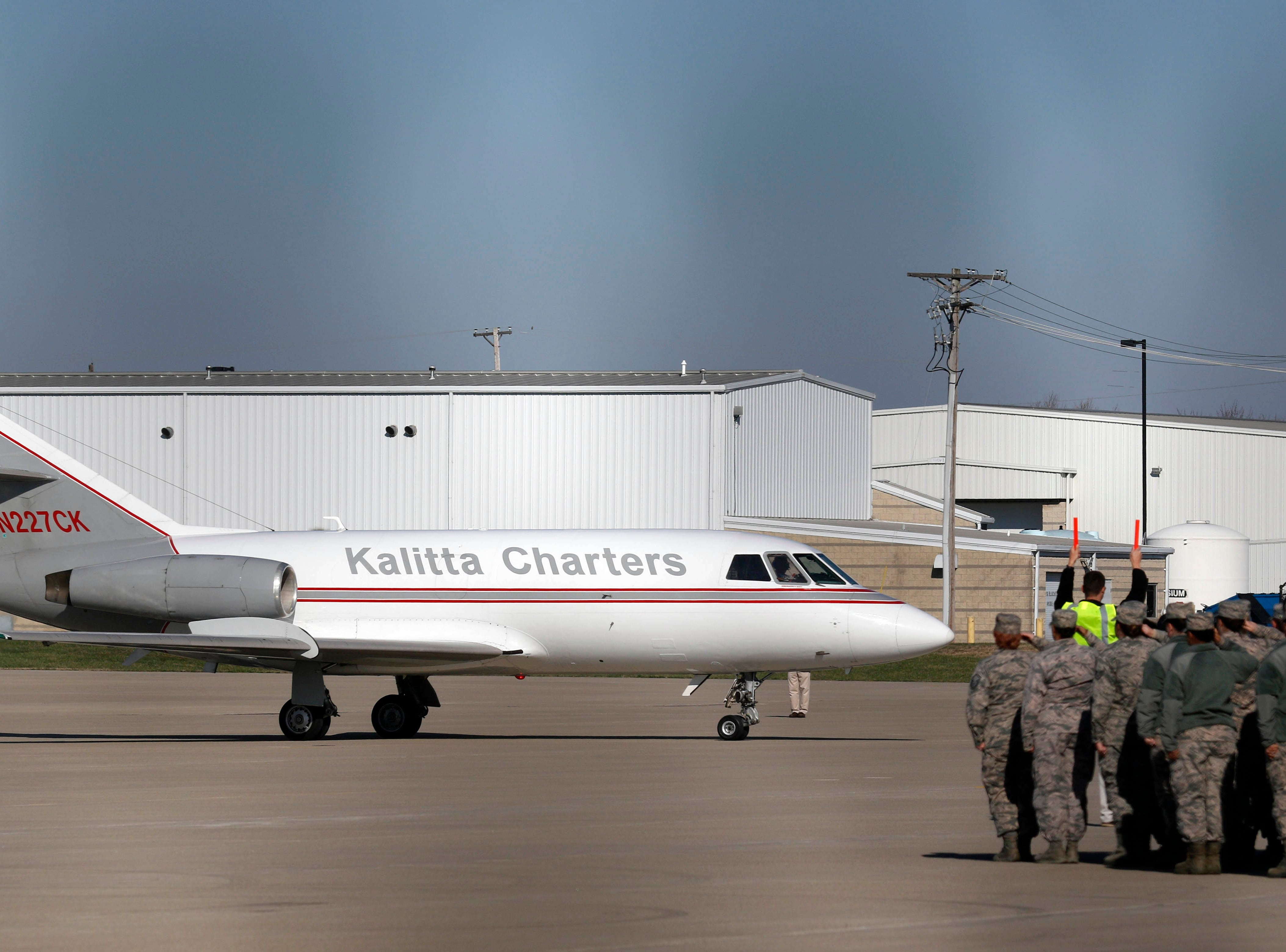 An airplane carrying the body of Sgt. Joseph Collete taxis to a stop near a formation of military personnel and the family members of U.S. Army Sgt. Joseph Collette Wednesday, April 3, 2019, at Rickenbacker International Airport in Columbus. Collette, 29, from Lancaster, was killed in combat March 21 in Afghanistan.